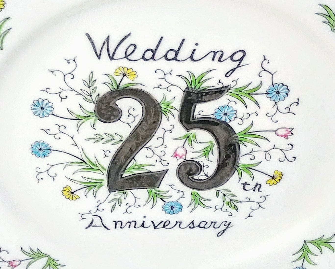 Silver Wedding Anniversary Gifts For Parents: Vintage 25th Wedding Anniversary Collectors Plate, Silver