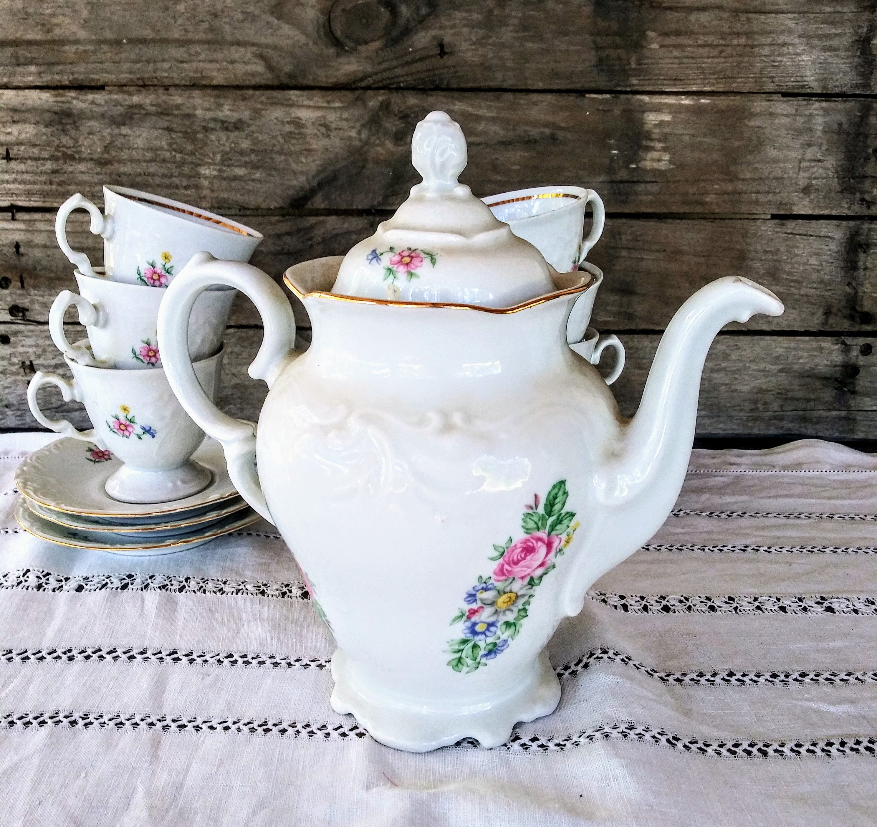 Vintage Wawel Coffee Tea Service For 6 Rose And Floral