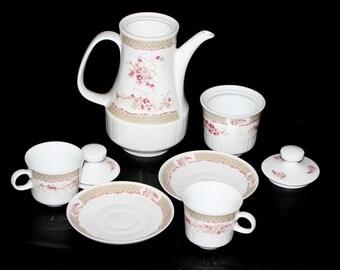 Sale!!! German Vintage Coffee Set White Porcelain Ceramic Coffee Pot Vintage Tea Set Coffee Service Cup and Saucer Sets Freiberger Porcelain