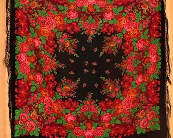 Black floral scarf large vintage shawl boho chic shawl fringed shawl bridesmaid shawl Russian folk shawl wedding shawl black wrap scarf