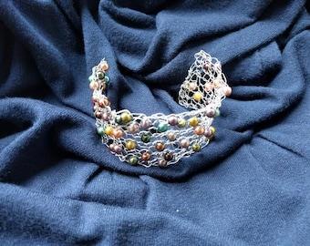 Silver wire bracelet. Silver wire and faux multicolor pearl bracelet. Hand Knit Wire Jewelry. Crochet wire bracelet. Silver Mesh Cuff