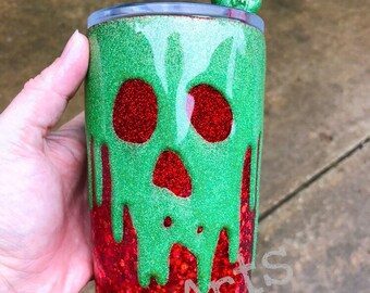 Poison Apple Tumbler; 20 ounce, 30 oz, glitter tumbler, straw topper, stainless steel cup
