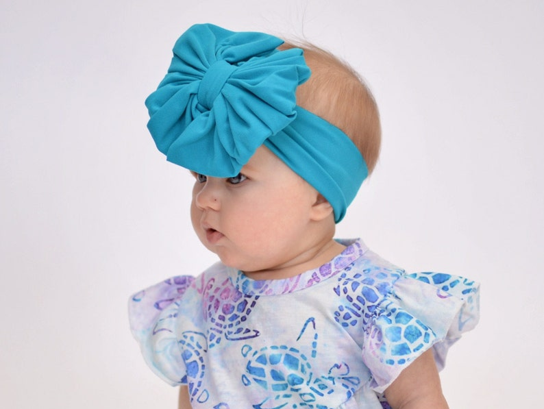 Big Bow Teal Super Soft Messy Bow Headband Baby Headband Turban Messy Bow Headwrap Floppy Bow Baby Bow Girl Bow