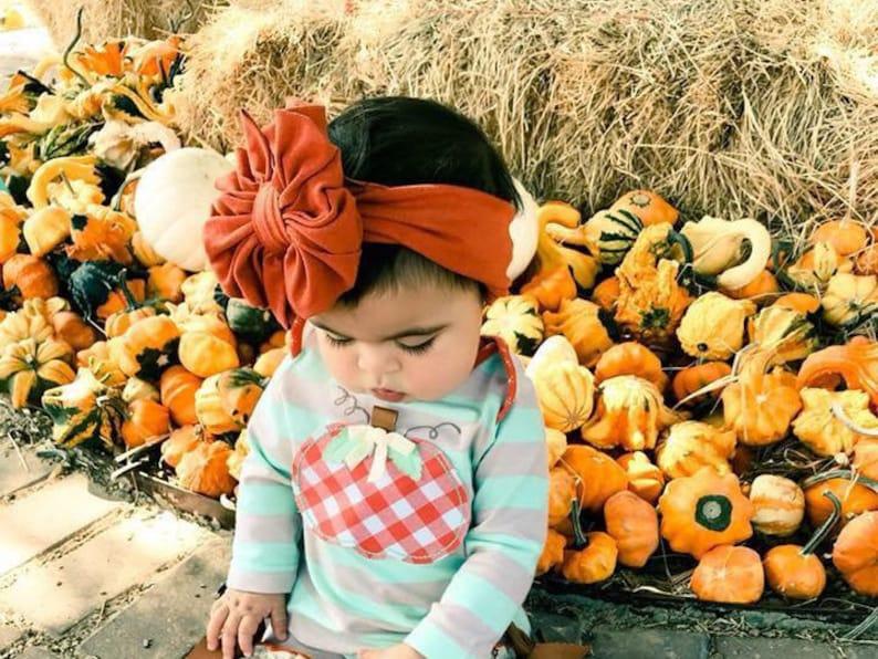 Turban Baby Headband Swim Bow Pumpkin Spice Messy Bow Headband Combo Floppy Bow Head wrap Baby Bow Big Bow Messy Bow