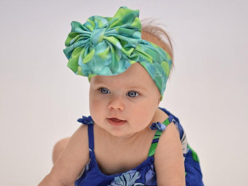 Floppy Bow Turban Messy Bow Big Bow Baby Bow Head wrap Girl Bow Baby Headband Mermaid Scales Swim Messy Bow Headband Swim Bow