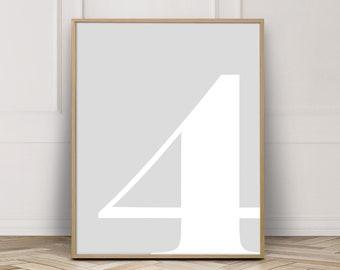 Number 4, Number Prints, Kids Prints, Four, Kids Decor, Nursery Numbers, 4 Year Old, Nursery Prints, Number Wall Art