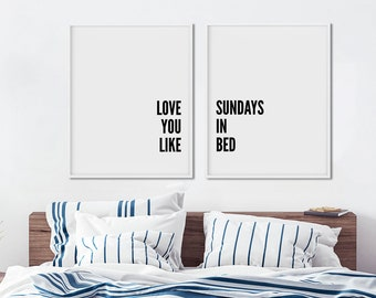 Romantic Bedroom Wall Art - Pair of Prints Two - Set of 2 Art Prints - Love Quote Posters - Couples Wall Art - Boho Modern Decor