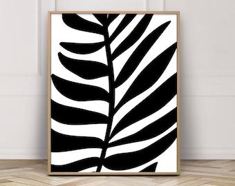Tropical Leaf Wall Art Print - Palm Leaf Print - Abstract Botanical Art Print - Black White Modern Abstract - Wall Art Master Bedroom .