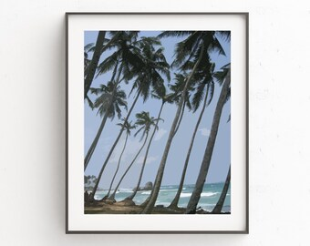 Palm Tree Print Art, Palm Tree Wall Print, Wall Art Prints, Blue Wall Art, Beach Scene Wall Decor, Beach Scene Decor, Realistic Painting