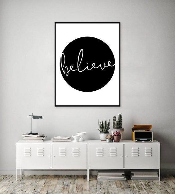 afa5ca088bc03 Believe Poster Print - Yoga Wall Art - One Word Signs - Yoga Studio Decor -  Black and White Quote Print - Script Print