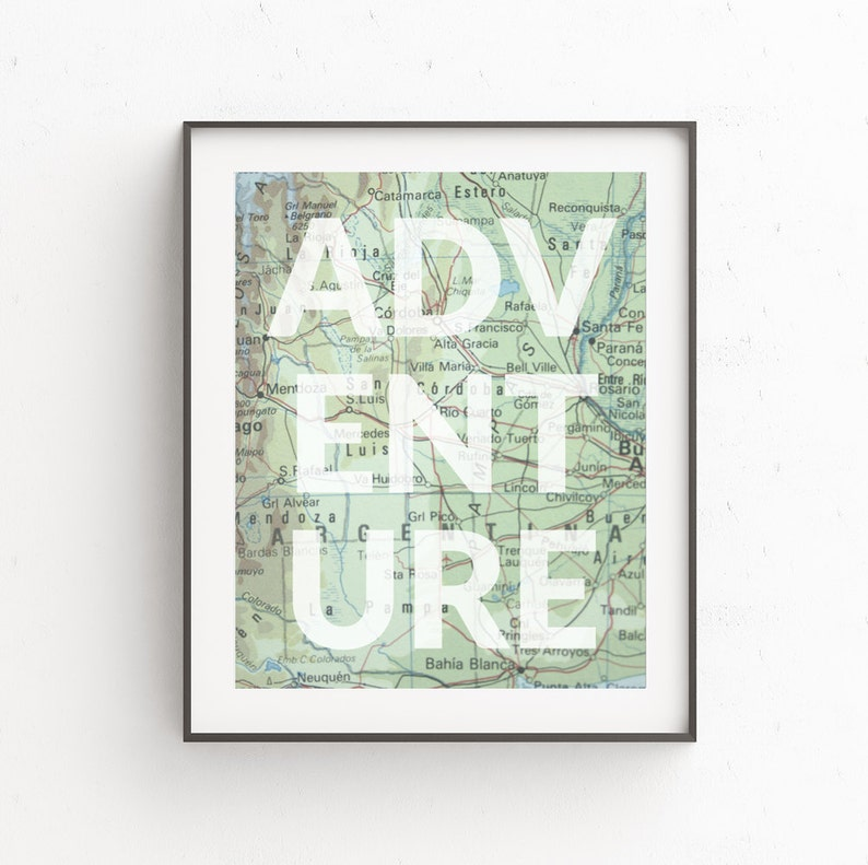 Map Prints Travel Quotes Map Art Adventure Wall Art image 0