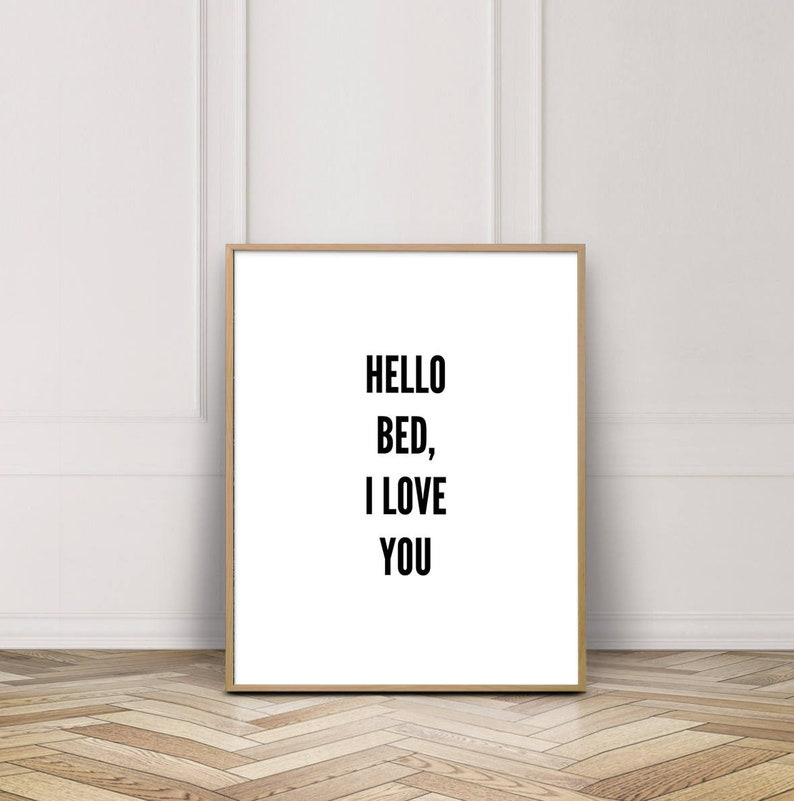 Wall Decor Hello Bed I Love You Cute Apartment Decor Above image 0