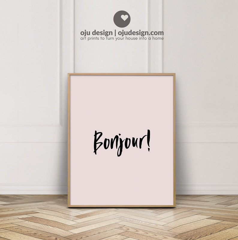 French Printable Art  Bonjour Print Art  Pastel Wall Art  image 0