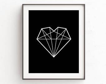 Digital Prints, Best Friends Gift, Gift Idea For Her, Printables, Bathroom Printables, Dorm Decorations, Printable Wall Art, Diamond Heart