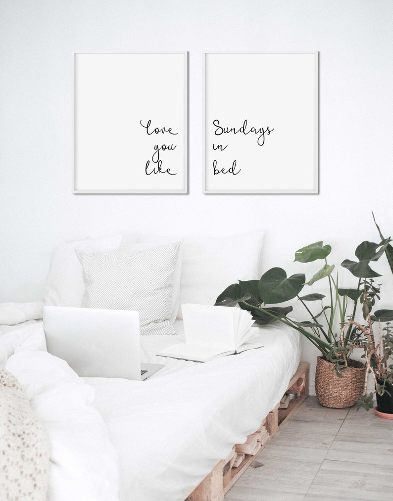 Quote Set Of Two Prints 2 Piece Wall Art Pair Of Prints Bedroom Poster Set Of 2 Romantic Quote Prints Love You Wall Art
