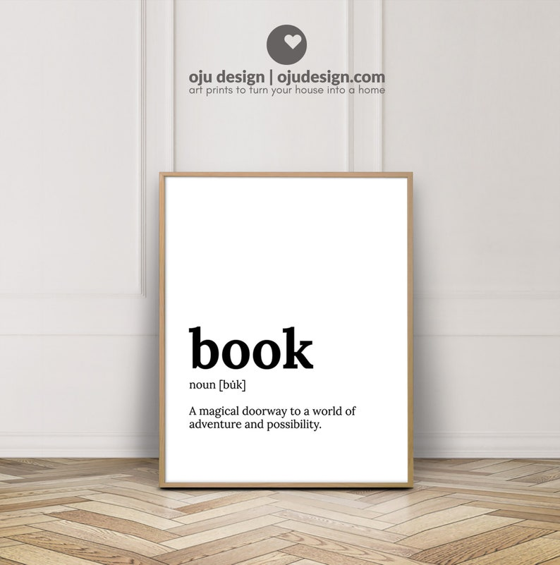Book Lovers Gift Definition Print Literary Gift Print image 0