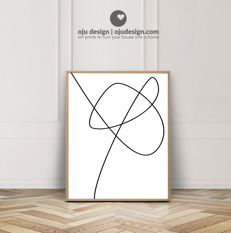 Abstract Lines Print  Continuous Line Drawing Art Contour image 1