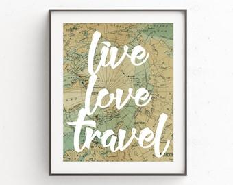 Travel Quotes, Travel Printable Art, Map Prints, Art Prints, Adventure, Rustic Home Decor, World Map Wall Art, Quote Prints, Wall Decor