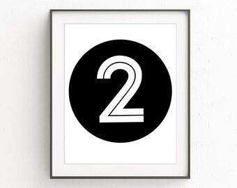Number 2, Minimalist, Two Year Old, Number Prints, Nursery Wall Art, 2, Scandinavian Design, Nursery Numbers, Number Decor, Kids Wall Art