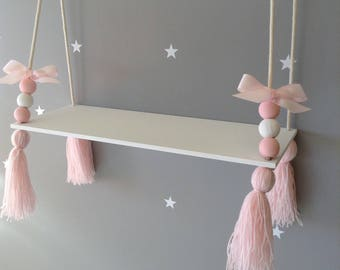 Hanging Shelf Tassel Shelf Floating Shelf Nordic Style Shelf Nursery Decor  Nursery Shelf Girls Shelf Girls Room Decor Nursery Ideas
