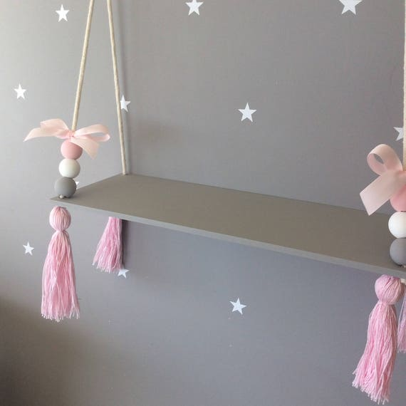 Wooden Nordic Style Hanging Tassel Bead Storage Wall Shelf Kids Bedroom Boy Girl
