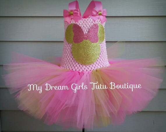 Pink And Gold Minnie Mouse Tutu Dress Pink And Gold Minnie Etsy