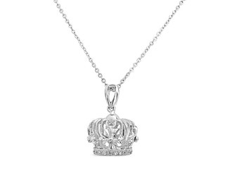 Crown Pendant Necklace - 18K White Gold Plated Sterling Silver Charm Necklace - Cubic Zirconia Pendant - Crown Charm - Crown Necklace