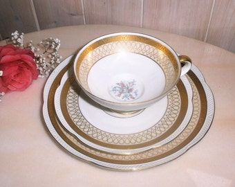 Vintage Tea Cup, Saucer and Dessert Plate, Trio Set by Zeh Scherzer//Bavaria Germany//Gifts for Her//Replacement China