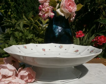 french Shabby Vintage Compote made of porcelain Opaque SA Made in France