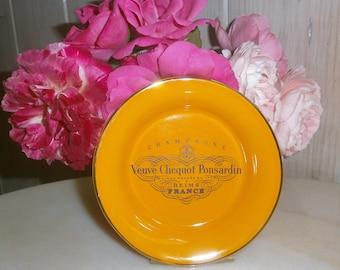 Veuve Clicquot Création Reservée//Modèle Déposé//Porcelaine de Villenauxe en Champagne//Vintage Iconic/Coupelle/tidy/ashtray/coaster Orange