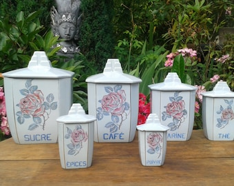 Antique Vintage french Spice jar in earthenware / / Antique Vintage ceramic spice jars
