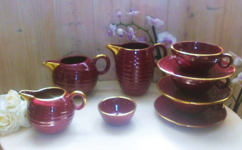 Fran\u00e7ais Vintage Retro Coffee Set Varnished Pottery Red /& Gold of St Clement France 1950s