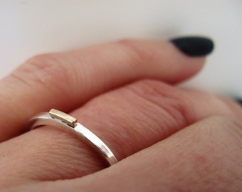 Silver and gold slim wedding ring 1.5mm wide, free shipping