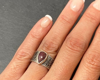 Red sapphire and silver wide ring size O, teardrop chunky band September birthstone, ONLY ONE AVAILABLE, free shipping
