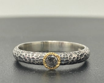 Salt and pepper diamond engagement ring, Alternative wedding ring,  silver and gold ring size P, fine stacking ring ONE AVAILABLE