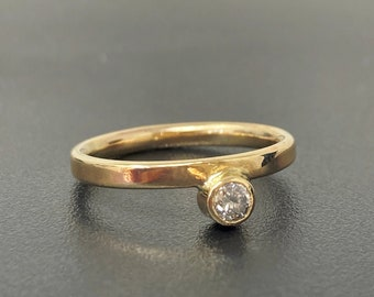 Unusual 9ct gold and salt and pepper diamond engagement ring, unique handmade wedding ring 2mm wide