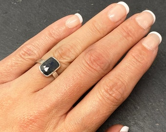 Blue sapphire and silver cocktail ring size K, ONLY ONE AVAILABLE, free shipping