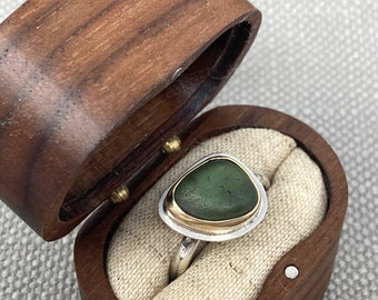 9ct gold, silver and green sea glass ring size L, ONLY ONE AVAILABLE, free shipping