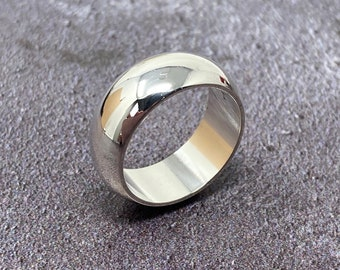 8mm wide D shape silver wedding ring, chunky silver unisex ring, free shipping