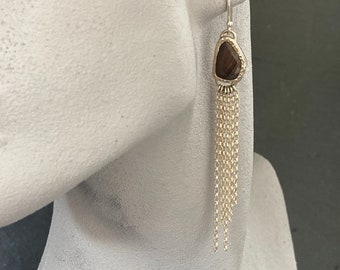 Silver and sapphire dangly chain earrings, jewellery gift, ONLY ONE AVAILABLE, free shipping