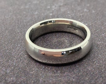 Silver court shape wedding ring 5mm wide, free shipping