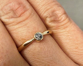 9ct gold and salt and pepper diamond engagement ring, unique handmade wedding ring 2mm wide