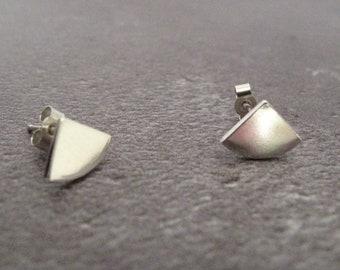 handmade silver triangle shape studs, sterling silver art deco earrings, geometric jewellery gift for her