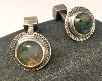 Moss agate and silver round bar cufflinks, ONLY ONE AVAILABLE, free shipping