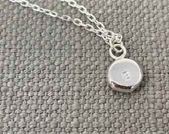 Silver initial nugget pendant, monogram necklace best friend Christmas gift