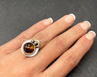 Amber silver and gold statement ring size K, large Amber cocktail ring for her, ONLY ONE AVAILABLE, free shipping