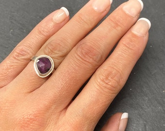 Handmade red sapphire and silver ring size K, September birthstone, 45th anniversary, ONLY ONE AVAILABLE, free shipping
