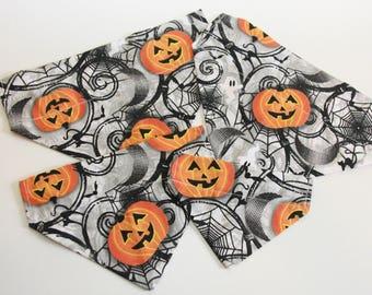 Spooky Halloween Jack-o-Lanterns, Ghosts, Bats, Spiders, Black Cats Dog Bandana/ Cat Bandana/ No Tie Bandana