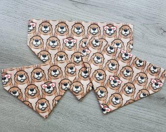 Cool Canadian Beaver Dog Bandana/ No Tie Bandana/ Over the Collar Bandana