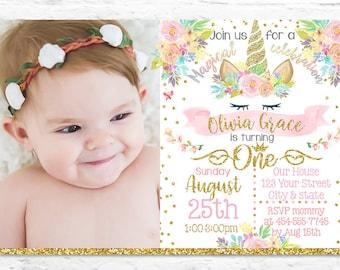 Printable Unicorn First Birthday Party Invitation